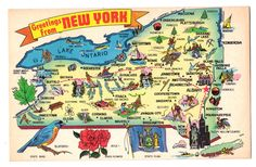 State Map large letter Greetings from New York chrome postcard | eBay