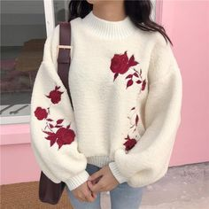 OVERSIZED PLUSH BROWN WHITE RED FLOWERS EMBROIDERY SWEATER-- I WANT