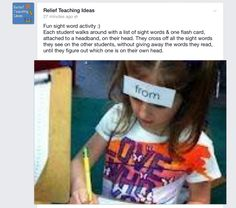 Relief Teaching Ideas. (Facebook) Sight word activity