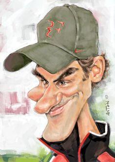 Caricaturas de famosos. Roger Federer Funny Caricatures, Celebrity Caricatures, Roger Federer, Silvester Stallone, Corvette Summer, Grace Art, Mr Perfect, Pop Art Illustration, Sports Figures