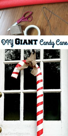 This giant candy cane is super easy to make! Great way to reuse those pool noodles after summer is over. Candy Themed Party, Party Themes, Diy Craft Projects, Fun Crafts, Reuse, Upcycle, Giant Candy Cane, Candy Cane Crafts, Amazing Crafts