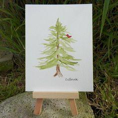 Cardinal Bird in a Tree Watercolor Art Winter Holiday Original Painting by Artist Debra Alouise