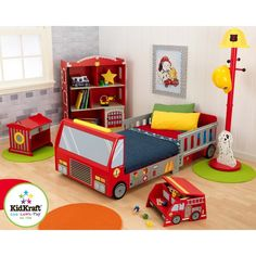 The bright colors and fun details of the Firefighter Bedroom Set will make every little boy feel like a hero. Itincludes one bed. Add the clothes pole and step stool for even more fun.