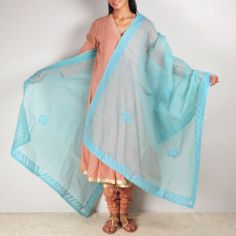 Sky Blue Organdy Dupatta This garment is all about colors and stitched patterns. It can make a simple dress look gorgeous. Shop here: http://www.tadpolestore.com/tara #dupattas #blue #applique