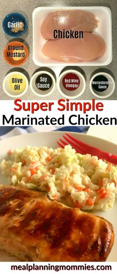 Just 3 Weight Watcher smart points per serving. This super Simple marinated chicken uses everyday kitchen staples, making it an easy one to throw together any night. Marinated Chicken Recipes, Chicken Recipes For Kids, How To Cook Chicken, Chicken Ideas, Entree Recipes, Ww Recipes, Grilling Recipes, Healthy Recipes, Skinny Recipes