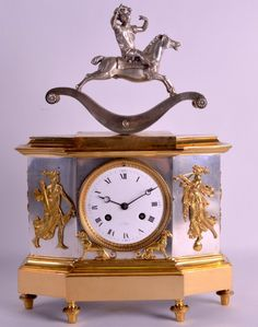 A RARE FRENCH SILVERED BRONZE AUTOMATON MANTEL CLOCK the top surmounted with a child upon a rocking horse, the body decorated with classical figures.. #AntiqueClocks #victorian #Clocks #Antique #mechanical #gosstudio  .  ★ We recommend Gift Shop: http://www.zazzle.com/vintagestylestudio ★