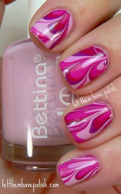 water marbling.  for best results use room temperature water and Bettina Nail Enamel polishes.