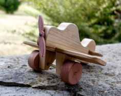 Wood Toy Airplane - Old Fashioned Toy Plane Handmade with Real Wood - Moveable Propeller and Wheels