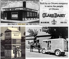 photo Clark Dairy company was owned by George Weston Foods, who had bought Neilson Dairy in 1947 on Bronson St. photo: Clark Dairy, tried this vending milk machine in the photo: Clark Dairy moved to Clyde St. photo: Delivery Wagon/Truck around 1950 'D' Vintage Ads, Vintage Photos, Canadian History, 4 Photos, Ottawa, Back In The Day, Ontario, 1950s, Dairy