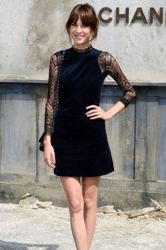 Alexa Chung - Black Lace Shirt & Blue Velvet Shift Dress