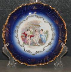 Antique Flow Blue Nude Portrait Bavarian Plate Women Cabinet Cobalt Gold Gilt