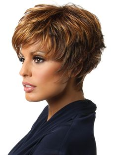 Sparkle by Raquel Welch: Color R3329S+ Glazed Auburn (Rich Dark Reddish Brown with Pale Peach Blonde highlights)