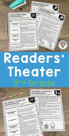 Readers' Theater Passages 3rd GRADE - Use this 132 page pack with your third graders to focus on Readers Theatre. You get a dictionary page, comprehension questions, writing prompts, and more. Great for literacy centers, stations, partner, work, shared reading, fluency groups, & more. Each passage has been professionally leveled by Lexile. You can trust the level, structure, & complexity! (year 3, home school, homeschool) #ReadersTheatre #3rdGrade #ReadersTheater #Reading Reading Fluency, Guided Reading, Lexile, Readers Theater, 3rd Grade Classroom, Shared Reading, Comprehension Questions, Literacy Centers, Writing Prompts