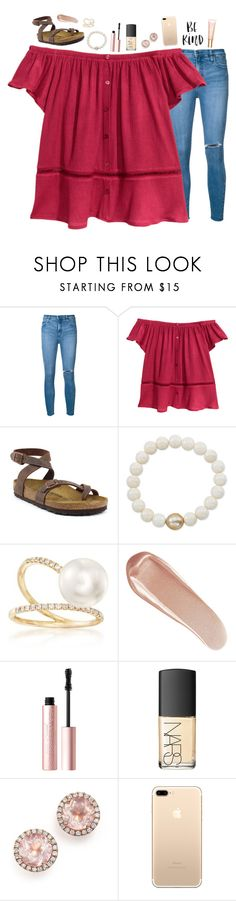 """better off without you :)"" by beingrach ❤ liked on Polyvore featuring Nobody Denim, Birkenstock, Anne Sisteron, Ross-Simons, NARS Cosmetics, Too Faced Cosmetics, Dana Rebecca Designs and Clarins"