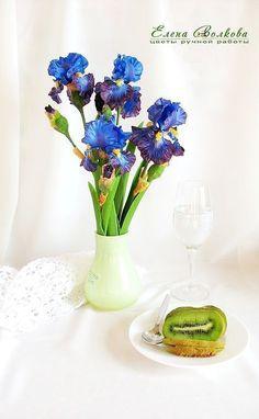 """Купить Ирисы из полимерной глины """"Волшебная ночь"""" 3 шт. - цветы из полимерной глины"""