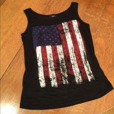 Tank top AMERICAN flag black  Cute black tank top with front distressed AMERICAN flag - perfect!! ❤️ Tops Tank Tops