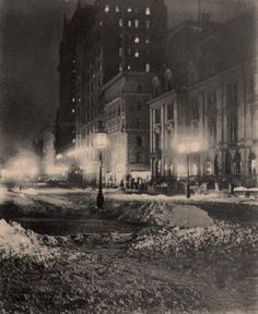 """Gilded Age Photographer, William A. Frasier. """"New York By Night"""" c.1897."""