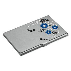 "Card holder Hand Made decorated with SWAROVSKI® ELEMENTS ""Flowers Blue"""