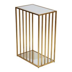 MARCO G - GOLD LEAF RECTANGULAR IRON TABLE WITH VERTICAL LINE DETAIL & MIRROR TOP