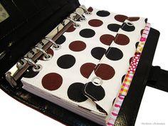 Filofax Kikki K Personal Tasche Kalender Refill Braun Polka Dots