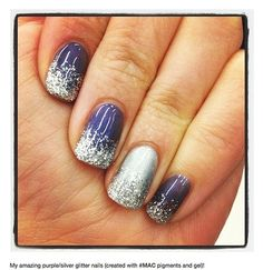 MAC pigments used for purple and silver ombre gel manicure