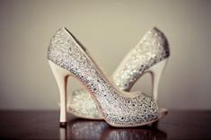 Silver Sparkly Wedding Shoes ♥ Glitter Bridal Shoes