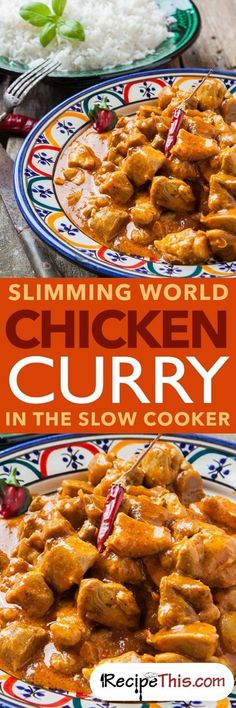 Welcome to my Slimming World Chicken Curry recipe In The Slow Cooker. Delicious creamy mild chicken curry slow cooked in the crockpot and then served with… Slimming World Curry, Slow Cooker Slimming World, Slimming World Recipes Syn Free, Slow Cooker Recipes, Cooking Recipes, Healthy Recipes, Oven Recipes, Crockpot Meals, Recipies