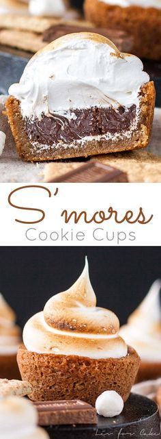 No campfire needed for these S'mores Cookie Cups! Graham cracker cookie cups filled with a Hershey's milk chocolate ganache, topped with toasted homemade marshmallow fluff. | http://livforcake.com