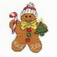 http://www.plushaddict.co.uk/chrismas-gingerbread-cross-stitch-kit.html DMC Mini Christmas Characturer Gingerbread Man Cross Stitch Kit
