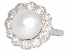 #FredLeighton #Pearl #Diamond #Ring is a classically elegant piece that will bring elegance to any womans finger