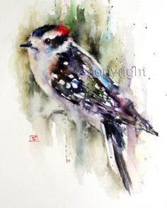 'DOWNY WOODPECKER' TILE - Crouser Fine Art Store