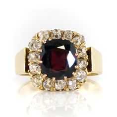 Victorian 1860's Antique 3.70ct t.w. Garnet & Old Mine Cut Diamond Halo Ring 18k | Antique & Estate Jewelry | Jewelry Finds