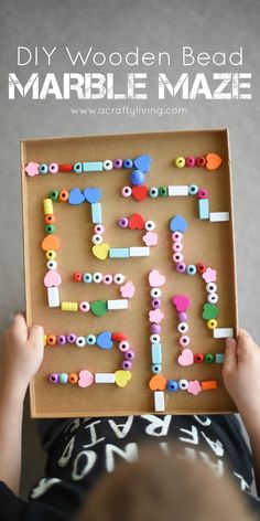 Make a marble maze with wooden beads. Fun DIY toy for kids!