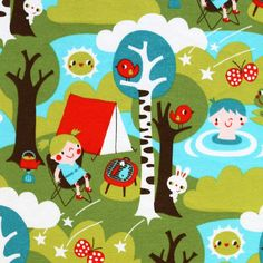 Camping organic cotton jersey (by the half metre)   Kitschy Coo