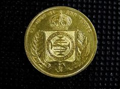 Brasil, moeda de ouro de 10.000 réis de 1858, D. Pedro II, estado MBC/Soberba.