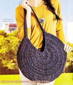 CROCHE COM RECEITA: Bolsa em crochê circular com tiras de couro