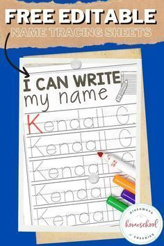"""Homeschool Giveaways shares about teaching kids how to write their own names; it feels like a rite-of-passage to me. Like they're finally ready to begin their official """"homeschooling."""" As I've shared before, we adhere to more of an unschooling approach with our preschool and elementary-aged kids, but we encourage them to learn how to properly write their name as soon as they are able to do so using editable name tracing sheets."""