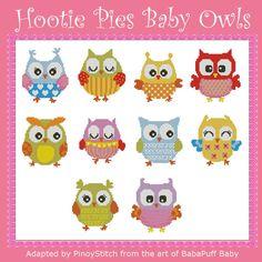 Hootie Pies Baby Owls Minis Cross Stitch PDF Chart by PinoyStitch, $7.50