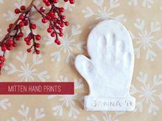 DIY baby ornament, mitten hand