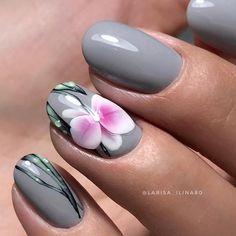 Accurate nails Cute nails flower nail art Gray nails Grey nails with a pattern Modern nails Nails trends 2018 Orchid nails Nail Art Design Gallery, Best Nail Art Designs, Nail Designs Spring, Nail Polish Trends, Nail Trends, Hair And Nails, My Nails, Orchid Nails, Nagellack Trends