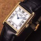 Authentic Must De Cartier Tank Argent Gold Plated Manual Mens Wrist Watch