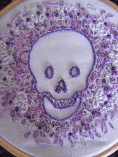 Purple skull embroidery DSCF6991 by nearlybutnotquite, via Flickr