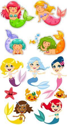 Cartoon Mermaid Clip Art | Cartoon mermaid vector