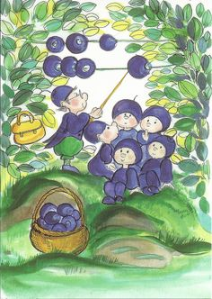 Funny illustration by Virpi Pekkala, title 'Premium class blueberries' in Finnish | 1575  1-luokan mustikat