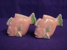 Vintage Pink Green Downward Butterfly Fish Salt and Pepper Shakers Ceramic