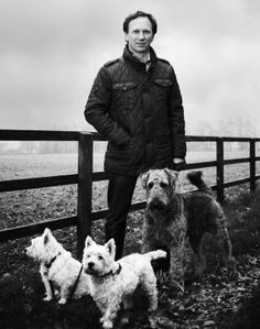 F1 Red Bull Principal Christian Horner with his Airedale ''Hugo'' and his girlfriends Westies