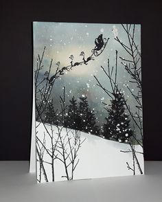 Voir vidéo sur facebook Mimi A La Carte et Youtube Micheline Jourdain Watercolor Christmas Cards, Christmas Card Crafts, Christmas Cards To Make, Watercolor Cards, Xmas Cards, Christmas Art, Watercolour, Penny Black Cards, Christmas Paintings