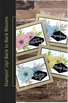 Looking for card making ideas or scrapbooking inspiration? Let me introduce you to the Stampin' Up! Back to Back Blooms stamp set. It's loaded with reversible stamps and perfect for crafts for many occasions. Get all the details along with card samples at www.klompenstampers.com Birthday Cards, Happy Birthday, How To Introduce Yourself, How To Make, Happy Thoughts, Stampin Up, Card Making, Greeting Cards, Bloom