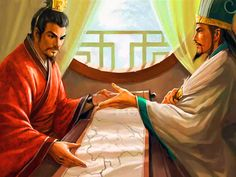 Warlord Liu Bei discussing war strategy with his chancellor Zhuge Liang, War of the Three Kingdoms, ancient China