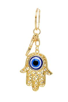 MeTimeBoutique - Gold Crystal Hamsa Evil Eye Key Chain